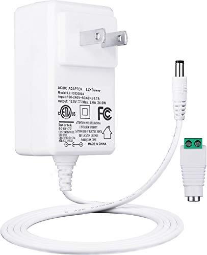 Lacasa 12V 2A ACアダプター 5.5mm 2.1mm DC端口, トランス 汎用 アダプタ, 最大出力24W AC to DC 适配器電源アダプター, AC100-240V / DC12V, ETL