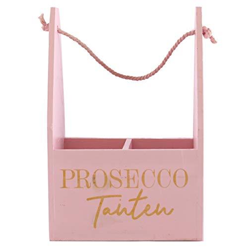 Knüllermarkt 31887 I Holz Tasche rosa I Prosecco Tanten mit Fächern I JGA Frauengeschenk Geschenke Deko