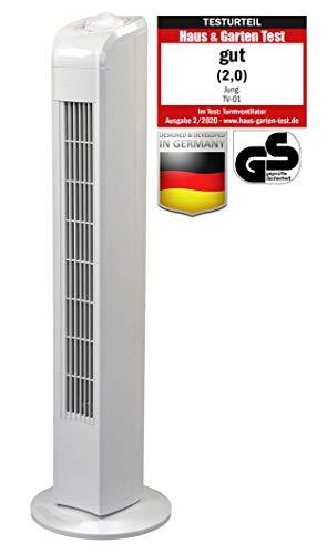 Jung TV01 Ventilator 78cm weiss, TESTURTEIL 2020 Note 2,0 (Gut), Leise Turmventilator 57dbA max, Energiesparend 0,05kW/h