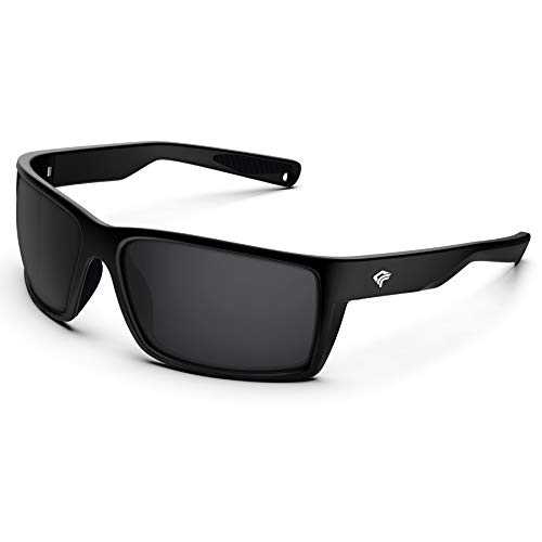 TOREGE Sports Polarized Sunglasses for Men Women Flexible Frame Cycling Running Driving Fishing Mountaineering Trekking Glasses TR24 (Matte Black & Black & Black Lens)