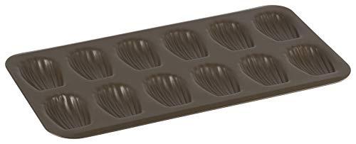 GOBEL - Plaque de 12 madeleines - Acier - Revêtement antiadhérent bicouche - Dimensions : 39,5 x 20 x 1,7 cm - Empreinte : 8 cm