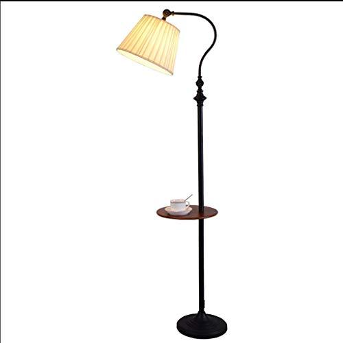 ZYLZL Lámpara de mesa de centro de almacenamiento Lámpara de pie americana Lámpara estándar ajustable plisada integrada con interruptor de pie enchufable de bandeja,Negro