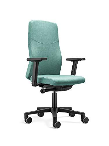 Ergonomischer Bürostuhl BASIC mit Stoffbezug in Türkis. Ergonomisch und bequem sitzen dank vielfältiger Einstellmöglichkeiten.