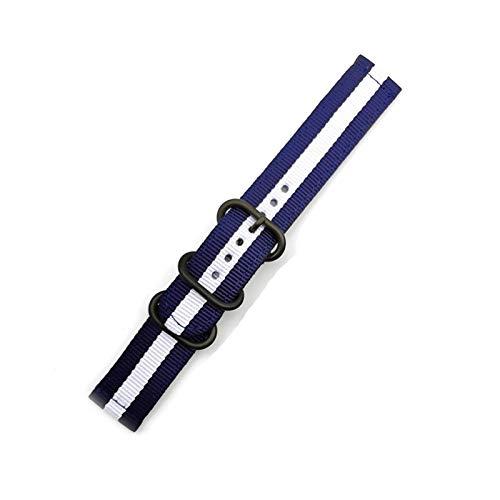 okkpbg Correa de Hombre Strap de Reloj de liberación rápida para Hombres Mujeres Premium Nylon Nylon Watch Band con Hebilla Inoxidable Negra -18mm, 20mm, 22mm, 24mm Casual y Hermosa