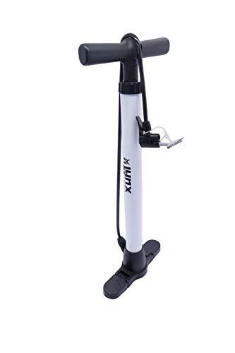 P4B | Fahrrad Standpumpe - für alle Ventile | Luftpumpe für FAHRRADREIFEN, BÄLLE, LUFTMATRATZEN | Seitlich einklappbarer Kunststoff-Fuss | Standpumpe Luftpumpe | Weiss