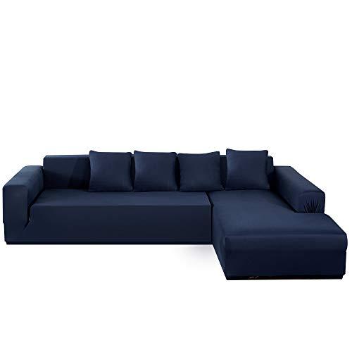 Fundas de sofá esquineras de 3 plazas, antimanchas y extensibles, protector de sofá para animales de compañía / niños, funda de sofá en forma de L de poliéster + 4 almohadas (azul marino)