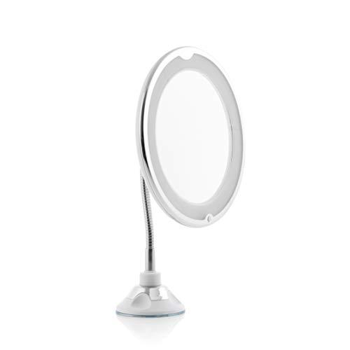 InnovaGoods Espejo de Aumento LED con Brazo Flexible y Ventosa Mizoom, Diámetro Aprox.: 20 cm