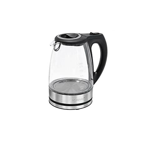 Bomann WKS 6032 G CB - Hervidor de agua de cristal (1,7 L, carcasa de cristal/acero...