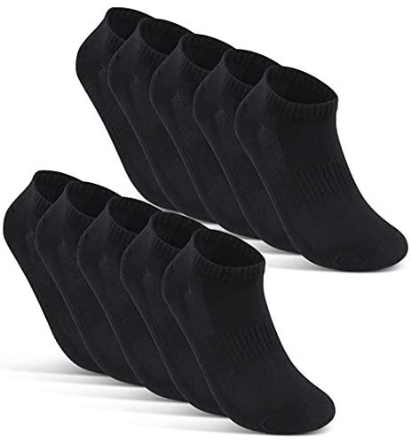 10 Paar Sneaker Socken Herren Damen Schwarz Weiß Grau Baumwolle Mesh 16510 (39-42 Schwarz)