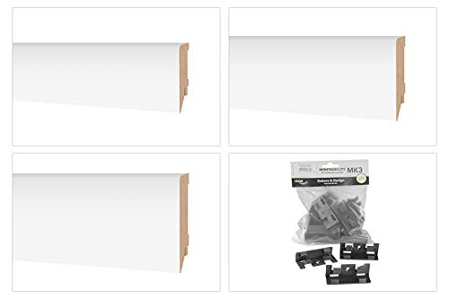 HEXIM Sockelleiste Modern 70/85/100mm - MDF Fußleiste für Fließen, Laminat, Vinyl & Teppich (1 Stück, 16 x 85mm / 2 lfm - MS8516) - Laminatleiste Fussleiste Sockelprofil Bodenleiste