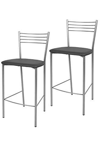 Tommychairs - Set 2 taburetes Elena para Cocina y Bar, con Estructura en Acero Pintado Color Aluminio y Asiento tapizado en Polipiel Color Gris Oscuro