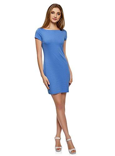 oodji Ultra Damen Kurzes Kleid mit U-Boot-Ausschnitt, Blau, DE 34 / EU 36 / XS