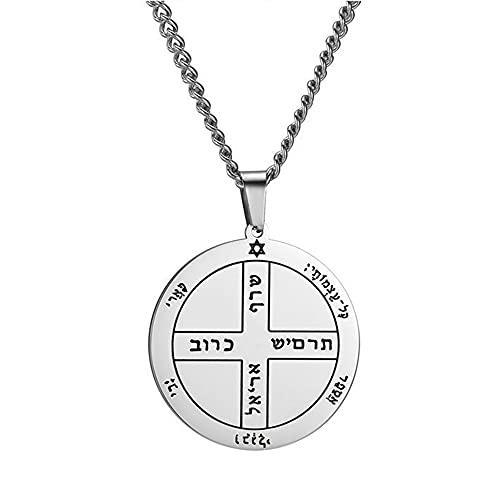 Collar tallado con colgante de cruz de Solomon para hombres y mujeres de acero inoxidable, collar religioso pagano de runa