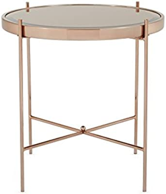 Stylish Lamp Side Or End Table In Rose Gold Metal With Glass Mirror Top Tarus Amazon Co Uk Kitchen Home