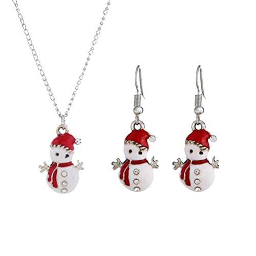 FENICAL Set orecchini collana pupazzo di neve Set gioielli natalizi Decorazione festa donna