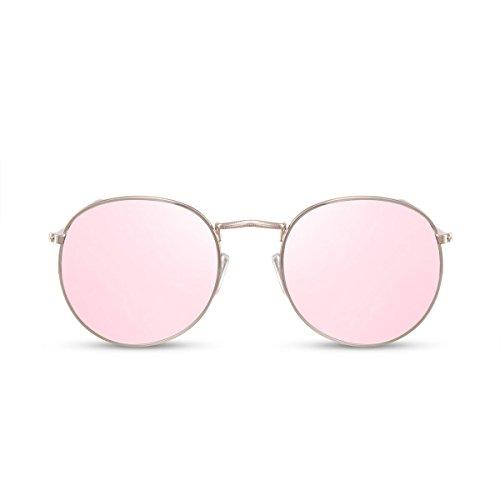 Cheapass Rund-e Sonnenbrille Verspiegelt Rosé-Gold UV-400 Brille Metall Damen Frauen Mädchen