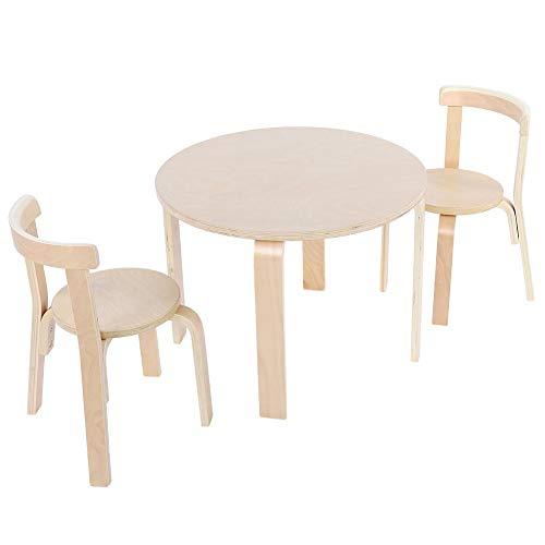 EBTOOLS Kindersitzgruppe, Holz Kindertisch Kinderstuhl Kindermöbel Runder Tisch und 2 Stühlen Sitzgruppen für Kinder, 60 * 60 * 51.5 cm+52 * 33 * 31.5 cm