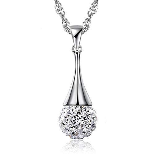 SUIWO Collar de la joyería femenina niñas colgante de plata Mujer Shambala Rhinestone lleno de bola colgante de diamante colgante collar de cadena collar de las mujeres del cuello de la cadena de la M