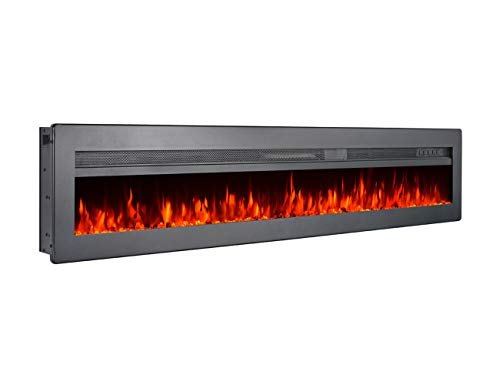 GMHome 60 Inches Wall Recessed Electric Fireplace 9 Changeable Color Realistic Crystal Stone Flame Heater, with Remote, 1500W, Metal Panel - Black electric Fireplaces