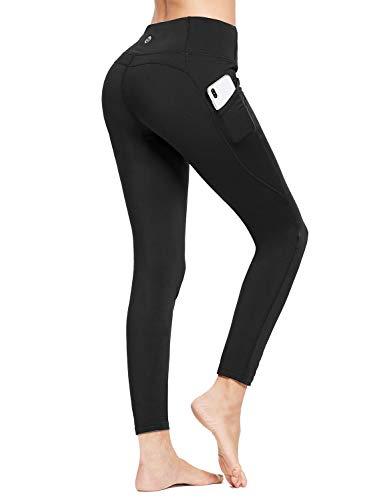 BALEAF Women's Buttery Soft High Waisted Yoga Pants Full Length Brushed Leggings with Pockets Black XX-Large