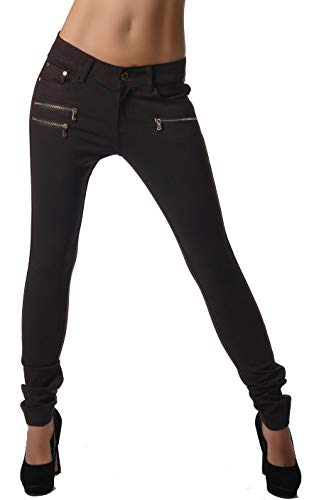 Freyday Modische Bequeme Damen Jeggings Leggings Hüfthose Stretch Slimfit (Dunkelbraun, M / 38)