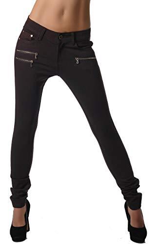 Freyday Modische Bequeme Damen Jeggings Leggings Hüfthose Stretch Slimfit (Dunkelbraun, M / 38)