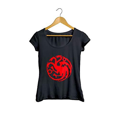 Camiseta Baby Look Guerra dos Tronos Flag 01 feminino preto Tamanho:P