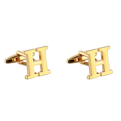 AYDOME Unique Cufflinks for Men, Stainless Steel Initial H Shape Wedding Party Cufflinks Gold