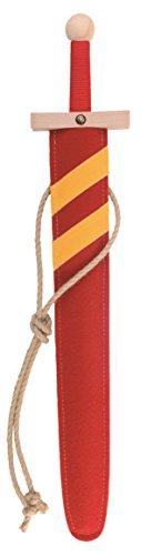 Stabiles Lancelot Schwert-Set rot, 60cm Länge mit Schwert aus Buche-Echtholz und Schwert-Scheide aus Filz [Tolles Design | Viele Details| Made in Germany]