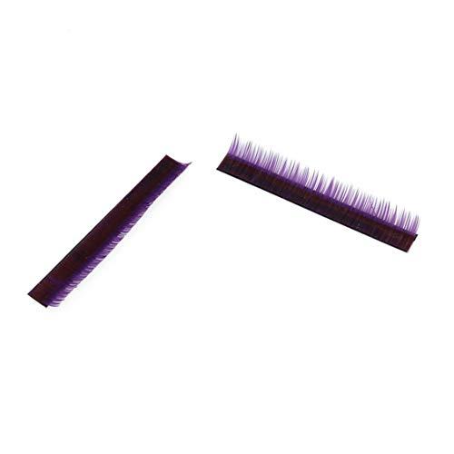 Idiytip Extension individuelle de cils en fibre de soie importée Faux cils individuels individuels 12 rangs Cils de greffage Curl (violet, 8MM)