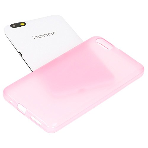 NALIA Handyhülle kompatibel mit Huawei Honor 4X, Soft Slim TPU Silikon Case Cover Hülle Crystal Schutzhülle Dünn Durchsichtig, Etui Handy-Tasche Back-Cover Phone Schutz Bumper - Transparent/Pink - 4