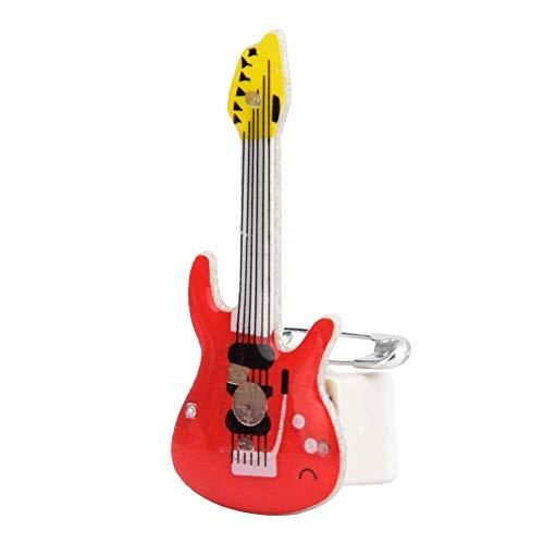 25Pcs Spilla A Forma Di Cartone Animato Che Lampeggia Spilla A LED A Forma Di Chitarra Chitarra Si Accende Distintivo Incandescente Per La Decorazione Della Festa Di Halloween Di Natale(Red Guitar)