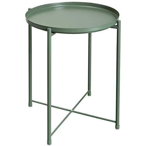 HollyHOME Tray Metal End Table, Sofa Table Small Round Side Tables, Anti-Rust and Waterproof Outdoor & Indoor Snack Table, Accent Coffee Table,(H) 20.28' x(D) 16.38', Atrovirens