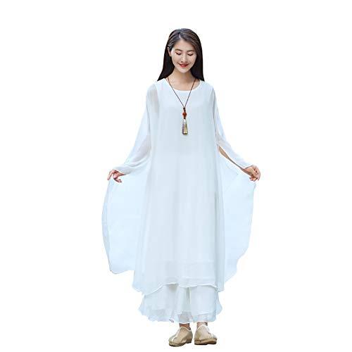 Yangliu Tai Chi Uniforme,Ropa De Entrenamiento De Gasa para Mujer Conjunto De Falda De Meditación De Yoga De Artes Marciales De Kung Fu Chino,Blanco,S