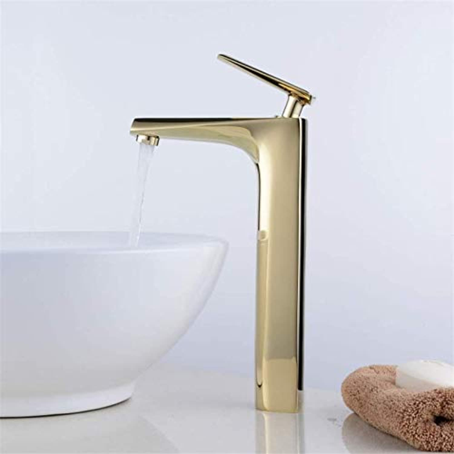 Stunning Polished gold Counter Basin Faucet Single Lever high Bathroom Sink Faucet