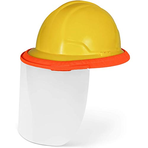 BEST EVER PRO-MADE X1 Hard Hat Face Shield. Reusable Face Mask That Attaches To Hardhat. Fits Full & Standard Brim Safety Helmets. For Construction & Landscaping. Hard Hat Not Included. 2 Pack