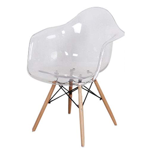 ch-AIR Nordic Net Red Wind Transparent Dining Chair Crystal Acryl Armrest Makeup Dressing Table Chair,White