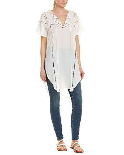 JOA Women's Embroidered Tunic Dress, Ivory, Small