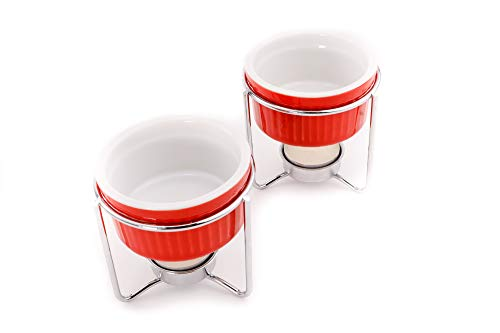 Crabaholik 2-Piece Ceramic Butter Warmers Set | Premium Quality Red Ceramic Fondue Warmers Pots | Melted Butter Melters with Sturdy Metallic Stands | Dishwasher Safe Elegant Original Gift Idea