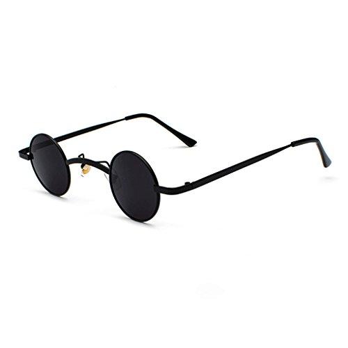 Lennon Runde Sonnenbrille, Retro Vintage Steampunk Männer und Frauen UV400 Sonnenbrille, Erwachsene Beatles unzerstörbar Metallrahmen Sonnenbrille (Farbe : D)