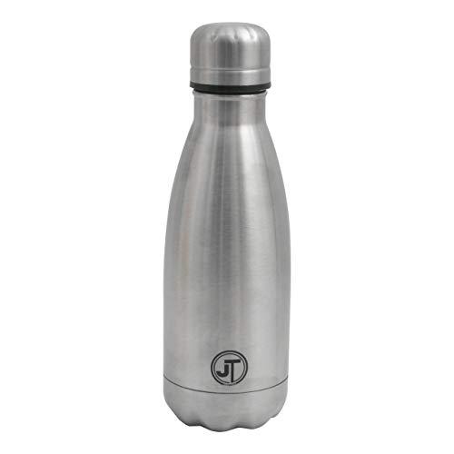 JT Fitness Botella de agua de acero inoxidable | 750 ml | Botella de agua con aislamiento al vacío | Botella de agua para bebidas calientes o frías | Botella de agua de metal para el hogar, el trabajo o los viajes | Sellado hermético – Plata