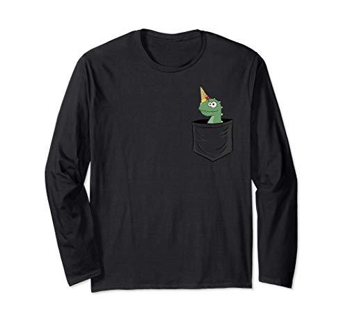 Dinosaurier mit Eiscreme | Einhorn Dino in deiner Tasche Langarmshirt