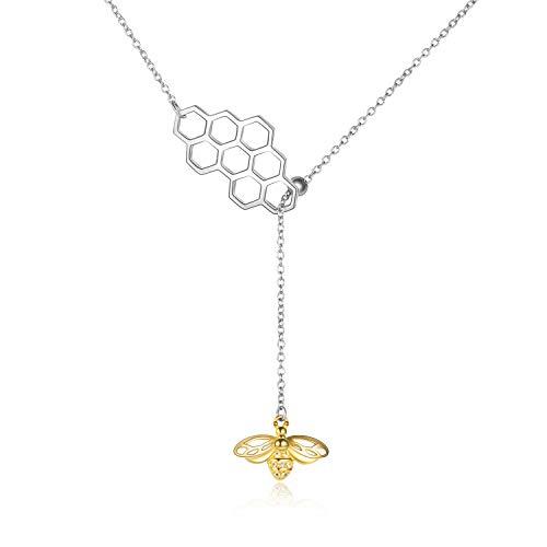 Bienen kette Sterling Silber Geometric Bienenwabe Biene Y-Halskette Schmuck Geschenke für Damen Mädchen