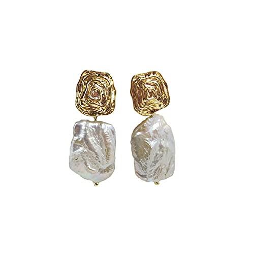 SALAN Orecchini di Perle Barocche Irregolari A Forma di Onda Orecchini di Perle d'Acqua Dolce Naturali Gocce Orecchini Francesi Vintage per Le Donne