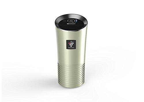 SHARP Luftreiniger, Ideal für das Büro oder Auto, Verbesserung der Luftqualität, Für Allergiker geeignet, 2-Fach-Filtersystem, Gold, UJ-GC20E-N