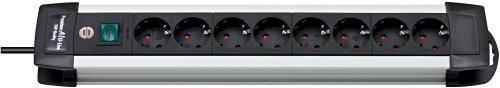 Brennenstuhl Premium-Alu-Line, Steckdosenleiste 8-fach - Steckerleiste aus hochwertigem Aluminium (mit Schalter und 3m Kabel, Made in Germany) silber/schwarz
