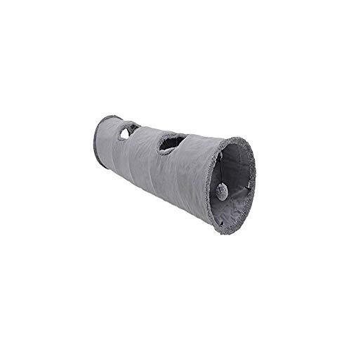 [Chaiclo] キャットトンネル 折りたたみ式玩具 猫 ちゃんの かくれんぼグッズ おあそび 誘い玉付き ねこ おもちゃ (130CM, グレー2穴)