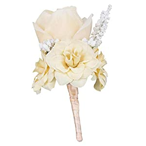 freneci Artificial Silk Rose Flower Wedding Button Holes Corsage Floral for Groom