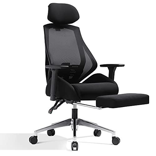 DEVAISEオフィスチェアオットマン付き160°リクライニングS字立体背もたれデスクチェアパソコンチェアハイバックメッシュ通気性ブラックORABGY608BL