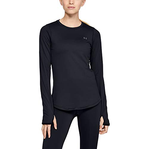 Under Armour Women's ColdGear Armour Fitted Long Sleeve Shirt,Black /Metallic Silver, Small